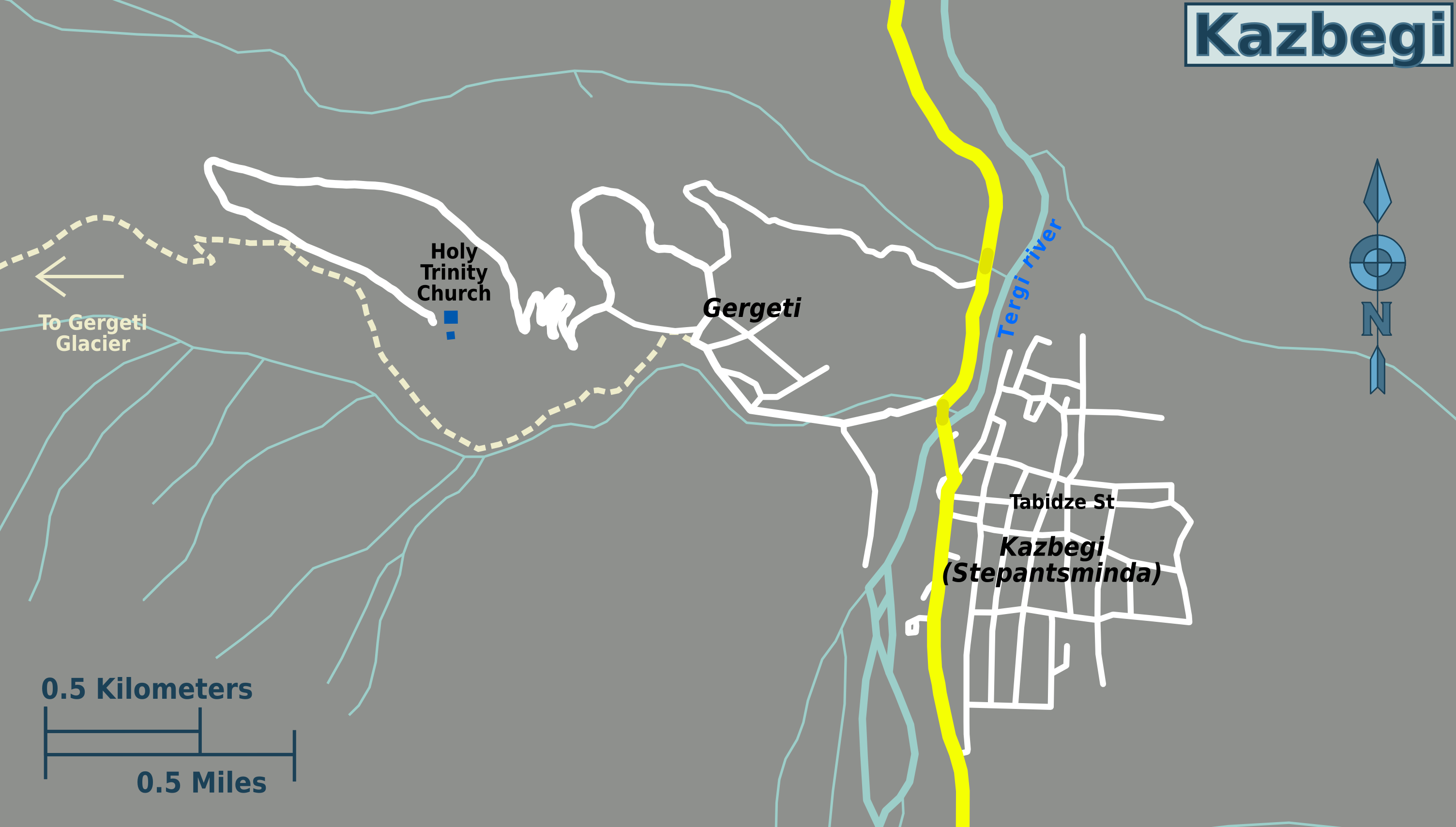 Around Kazbegi Dariali Gorge Khde Valley And Majestic Villages - Georgia kazbegi map